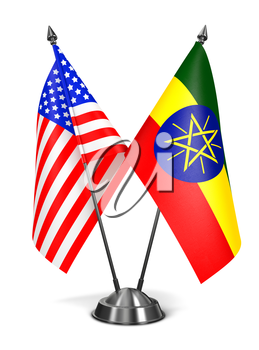 USA and Ethiopia - Miniature Flags Isolated on White Background.