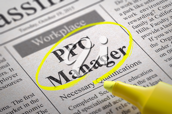 PPC Manager Vacancy in Newspaper. Job Seeking Concept.