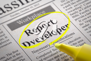Report Developer Vacancy in Newspaper. Job Seeking Concept.