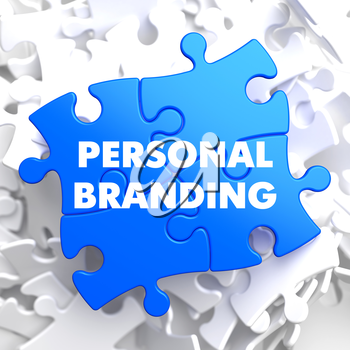 Personal Branding on Blue Puzzle on White Background.