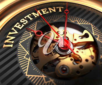 Investment on Black-Golden Watch Face with Watch Mechanism. Full Frame Closeup.