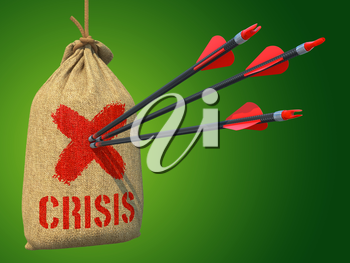 Crisis - Three Arrows Hit in Red Target on a Hanging Sack on Green Background.