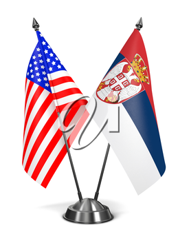USA and Serbia - Miniature Flags Isolated on White Background.