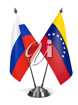Russia and Venezuela - Miniature Flags Isolated on White Background.
