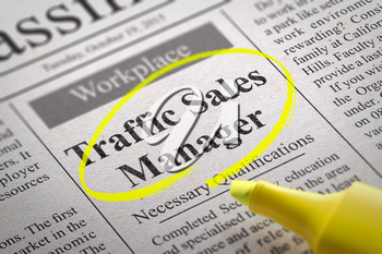 Traffic Sales Manager Jobs in Newspaper. Job Search Concept.