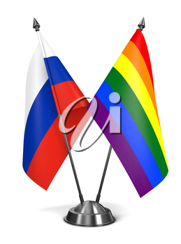 Russia and Gay - Miniature Flags Isolated on White Background.