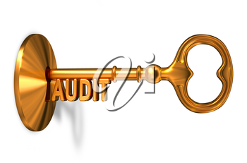 Audit - Golden Key is Inserted into the Keyhole Isolated on White Background