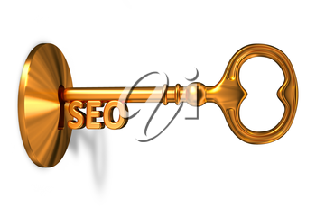 Seo - Golden Key is Inserted into the Keyhole Isolated on White Background