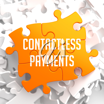 Contactless Payments on Yellow Puzzle on White Background.