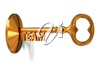 Team - Golden Key is Inserted into the Keyhole Isolated on White Background