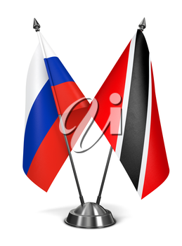 Russia, Trinidad and Tobago - Miniature Flags Isolated on White Background.