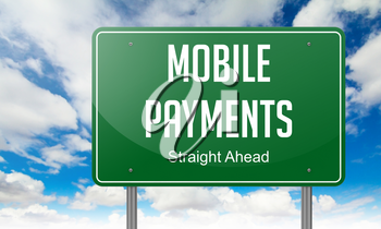 Mobile Payments- Highway Signpost on Sky Background.