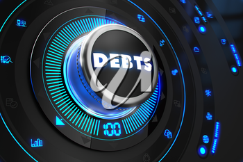 Debts Button with Glowing Blue Lights on Black Console.