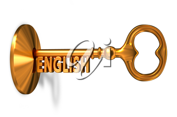 English - Golden Key is Inserted into the Keyhole Isolated on White Background