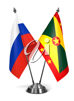 Russia and Grenada - Miniature Flags Isolated on White Background.