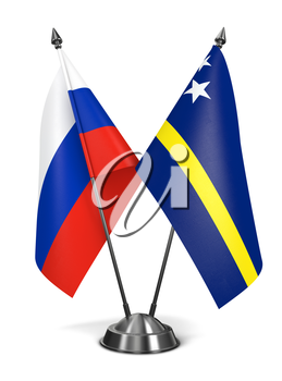 Russia and Curacao - Miniature Flags Isolated on White Background.