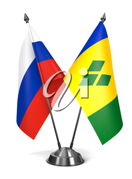 Royalty Free Clipart Image of Russia, Saint Vincent and Grenadines Miniature Flags