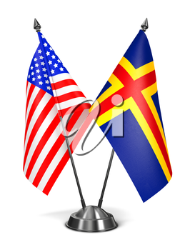 Royalty Free Clipart Image of USA and Aland Miniature Flags