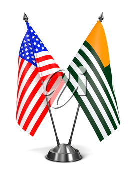 Royalty Free Clipart Image of USA and Azad Kashmir Miniature Flags