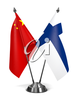 Royalty Free Clipart Image of China and Finland Miniature Flags