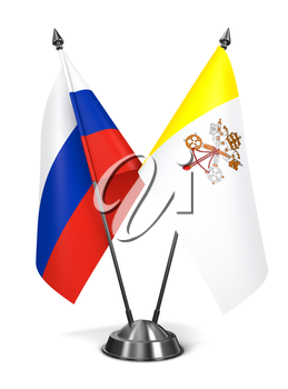 Royalty Free Clipart Image of Russia and Vatican City Miniature Flags