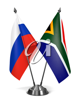 Royalty Free Clipart Image of Russia and South Africa Miniature Flags