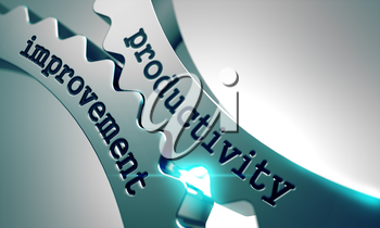 Royalty Free Clipart Image of Productivity Improvement Text on Gears