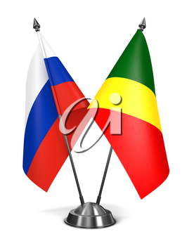 Royalty Free Clipart Image of Russia and Republic of Congo Miniature Flags