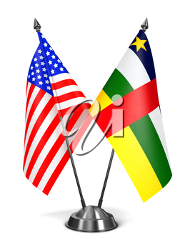 Royalty Free Clipart Image of USA and Central African American Republic Miniature Flags