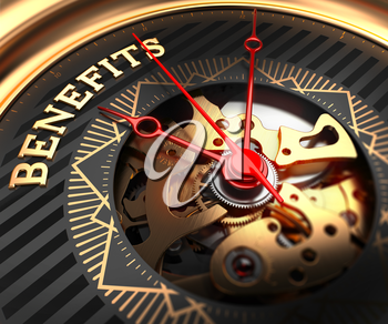 Royalty Free Clipart Image of Benefits Text on a Watch
