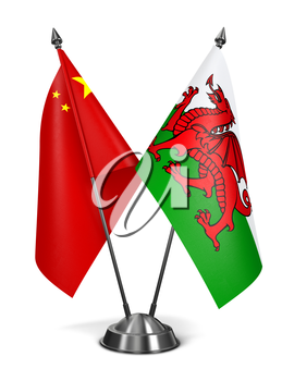 Royalty Free Clipart Image of China and Wales Miniature Flags