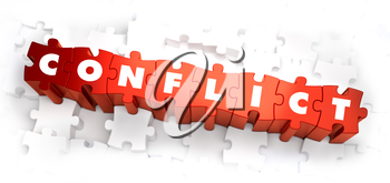 Conflict - Text on Red Puzzles on White Background. Selective Focus. 3D Render.