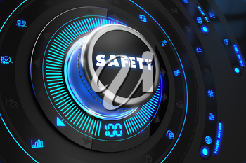 Safety Controller on Black Control Console with Blue Backlight. Increase, improvement, control or management concept.