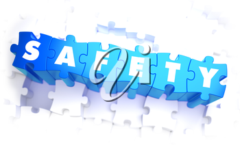 Safety - Word in Blue Color on Volume  Puzzle. 3D Illustration.