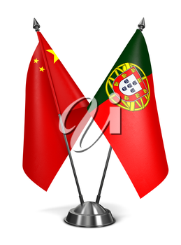 China and Portugal - Miniature Flags Isolated on White Background.