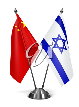 China and Israel - Miniature Flags Isolated on White Background.
