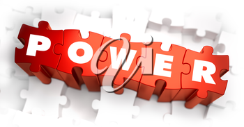 Power - Text on Red Puzzles with White Background and Selective Focus.