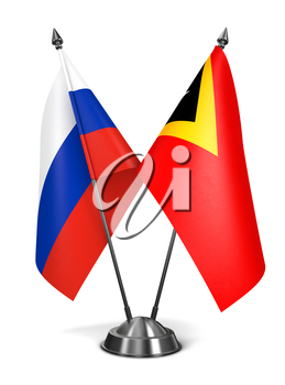 Russia and East Timor - Miniature Flags Isolated on White Background.