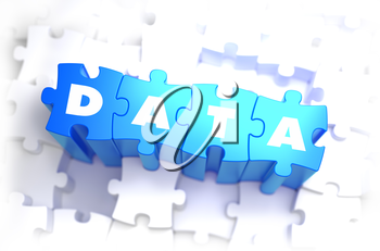 Data - Word on Blue Puzzles on White Background. 3D Render.