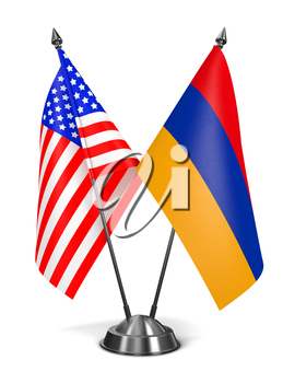 USA and Armenia - Miniature Flags Isolated on White Background.