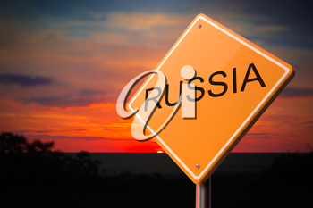 Russia on Warning Road Sign on Sunset Sky Background.