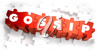 Gossip - Text on Red Puzzles with White Background. 3D Render.