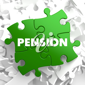 Pension on Green Puzzle on White Background.