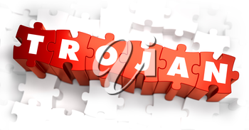 Trojan - White Word on Red Puzzles on White Background. 3D Illustration.