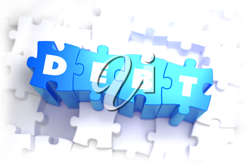 Debt - White Word on Blue Puzzles on White Background. 3D Illustration.