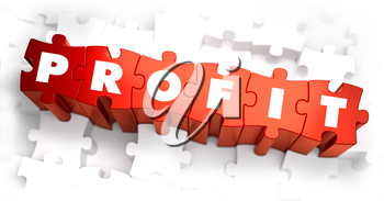 Profit - White Word on Red Puzzles on White Background. 3D Render.