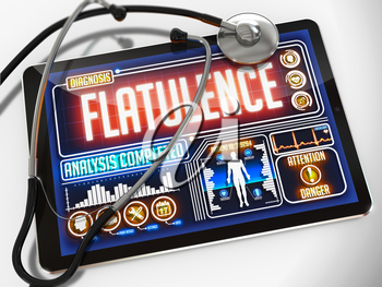 Flatulence - Diagnosis on the Display of Medical Tablet and a Black Stethoscope on White Background.