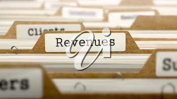 Revenues Concept. Word on Folder Register of Card Index. Selective Focus.