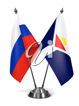 Russia and Saint-Martin of Miniature Flags Isolated on White Background.