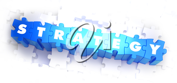 Strategy - White Word on Blue Puzzles on White Background. 3D Illustration.